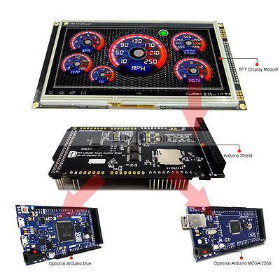 """7"""" inch TFT LCD Resistive Touch SSD1963 Shield for Arduino Due,MEGA 2560 Library"""