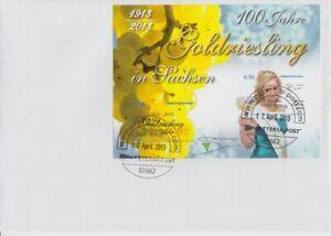 Paketeria-Postal-100-Annees-Goldriesling-dans-Saxe-Vin-Bloc-FDC