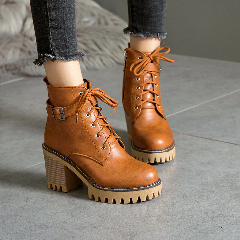 Womens Retro Lace Up Buckle Strap Chunky Mid Heels Punk Ankle Boots Plus Size