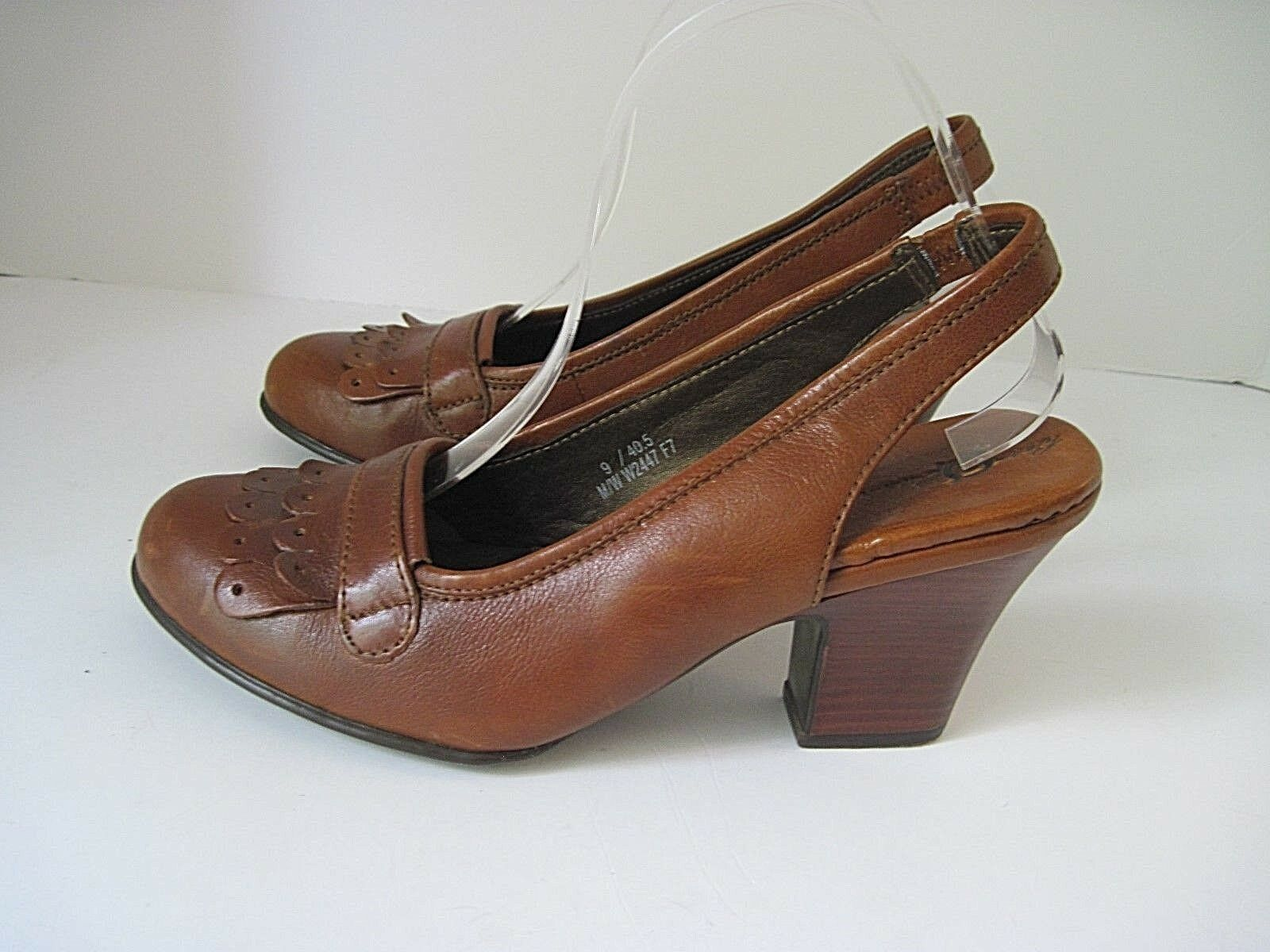 Born Crown Braun Leder Ankle Strap Heels Pump Schuhes  Größe 9, EU 40.5