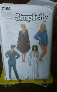 Oop-Simplicity-7184-misses-nightdress-pjs-baby-dolls-ruffles-sz-14-16-UNCUT