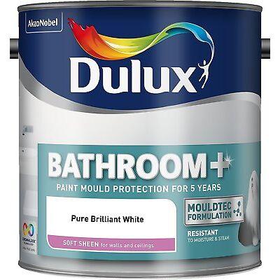 Dulux Bathroom Plus Soft Sheen Paint, 2.5 L - Pure Brilliant White