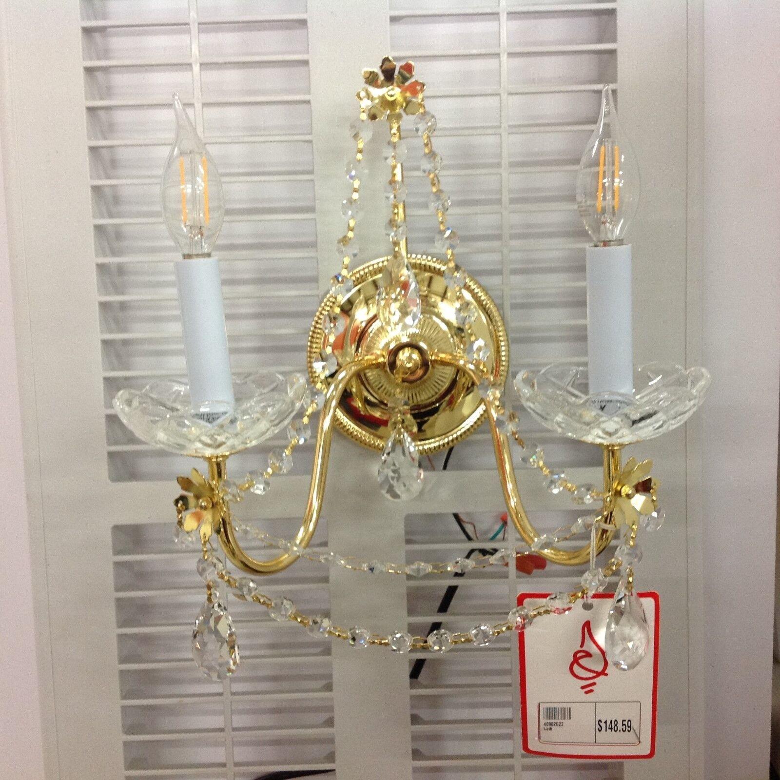 James R Candelabro Moder 40902G22 Regalia 2 Luz Cristal Candelabro R de Pared en Dorado 936325