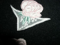 10 Vintage Inserts W/a Pink Rose/lt Emerald Leaves/schiffli Embroidery On Tulle