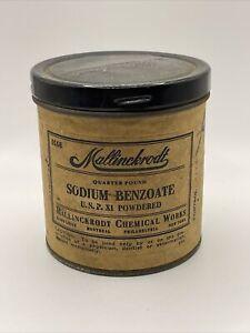 "VINTAGE 3 1/4"" MALLINCKRODT Sodium Benzoate Container Quarter Poi D"