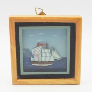 Vintage-Decorativa-Miniatura-Papel-Barco-de-Vela-Vasija-en-Marco