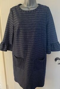 Tu-Navy-Blue-amp-White-Striped-3-4-Flared-Sleeve-Smart-Dress-With-Pockets-Size-10
