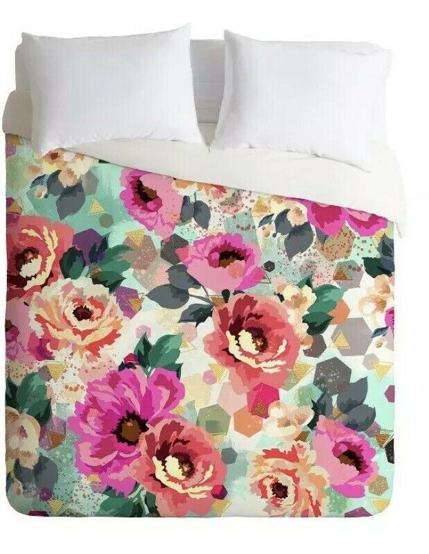 bluee Marta Barragan Camarasa Duvet Cover Deny Designs Abstract Geo Flowers Queen