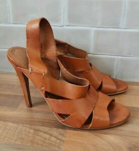 Zara-Trafaluc-Whiskey-Tan-Leather-High-Heels-Sandals-UK-6-5-40-Boho-Artisan