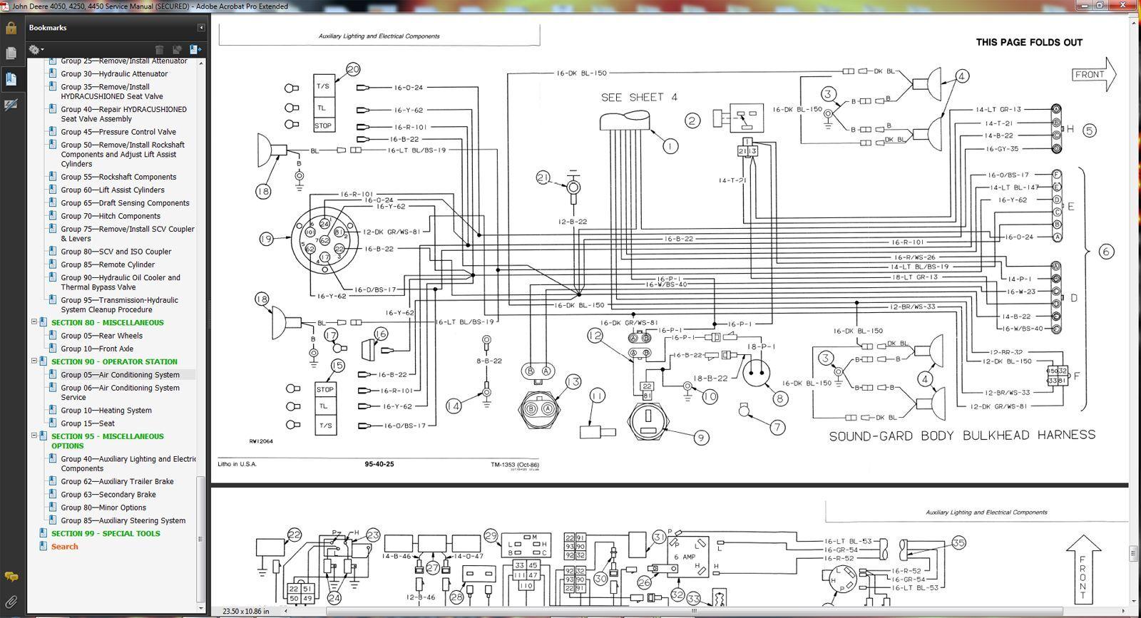 Tm1353 John Deere 4050 4250 4450 Tractor Technical Service Manual Wiring Diagram Repair Book Cd Ebay