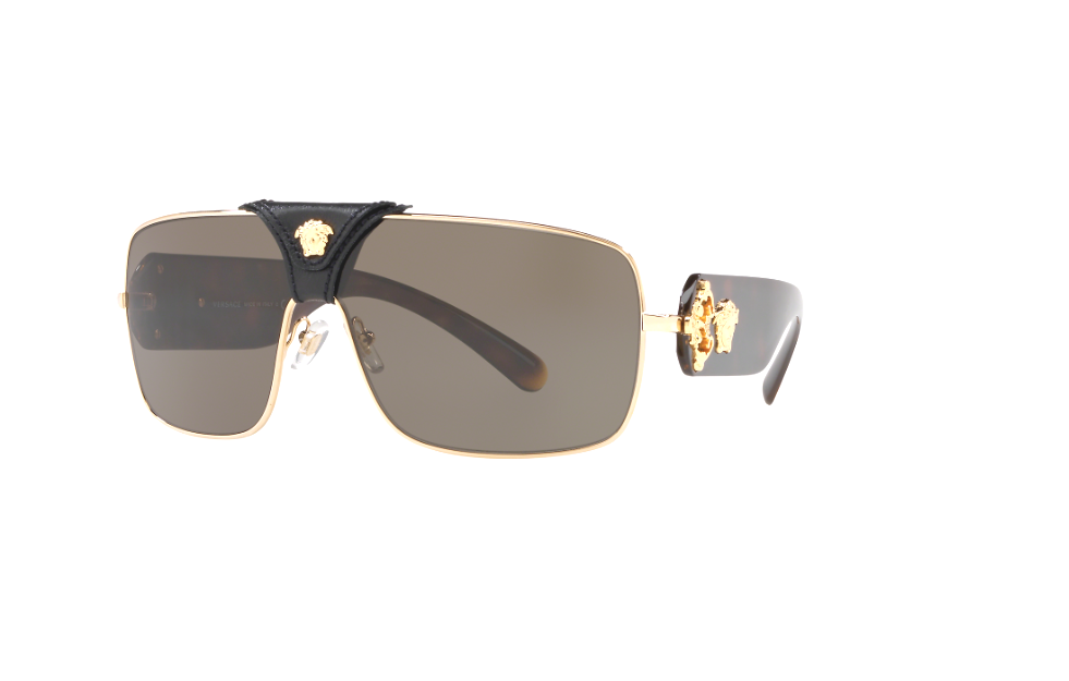 Versace Men/'s Squared Baroque VE2207 VE//2207 Gold//White Leather Sunglasses 38mm