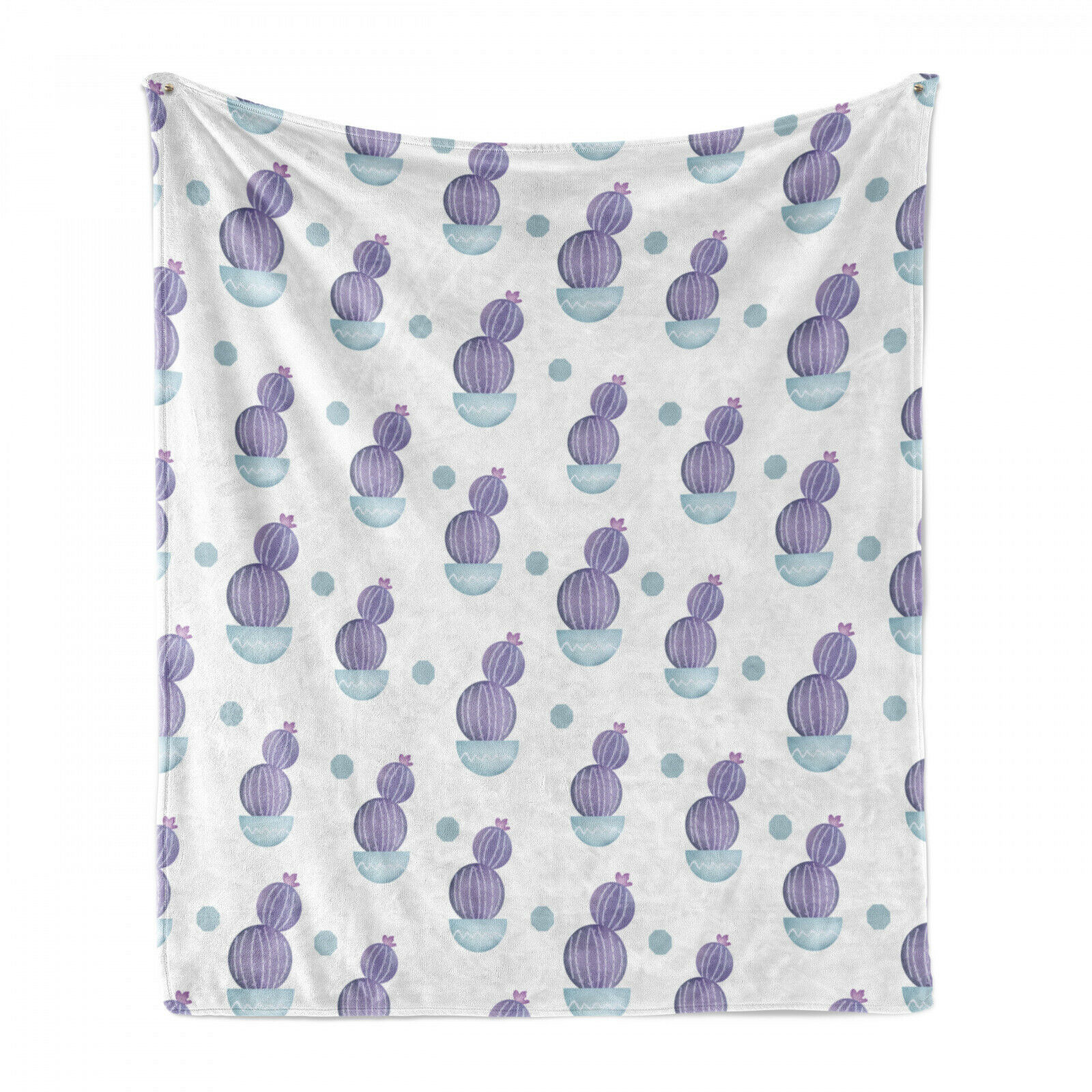 Lush Soft Flannel Fleece Blanket Pastel Cactus Plant Art