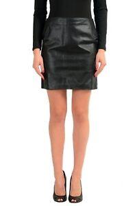 Maison-Margiela-1-100-Leather-Black-Women-039-s-Mini-Skirt-US-XS-IT-38