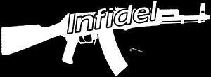 AUSSIE-PRIDE-INFIDEL-AK47-BUMPER-STICKER-AUSTRALIAN-MADE-INFIDEL-STICKER-WHITE
