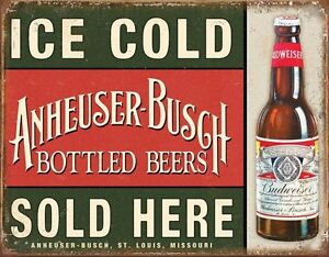 Budwiser Anheuser Busch Ice Cold large metal sign 410mm x 320mm (sf) 65YrYLEr-09115627-219227644