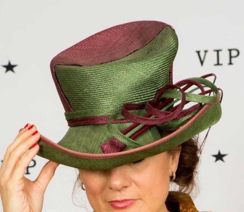 Forest green & claret formal hat Pressen of Barcelona Wedding Races Ascot MOB