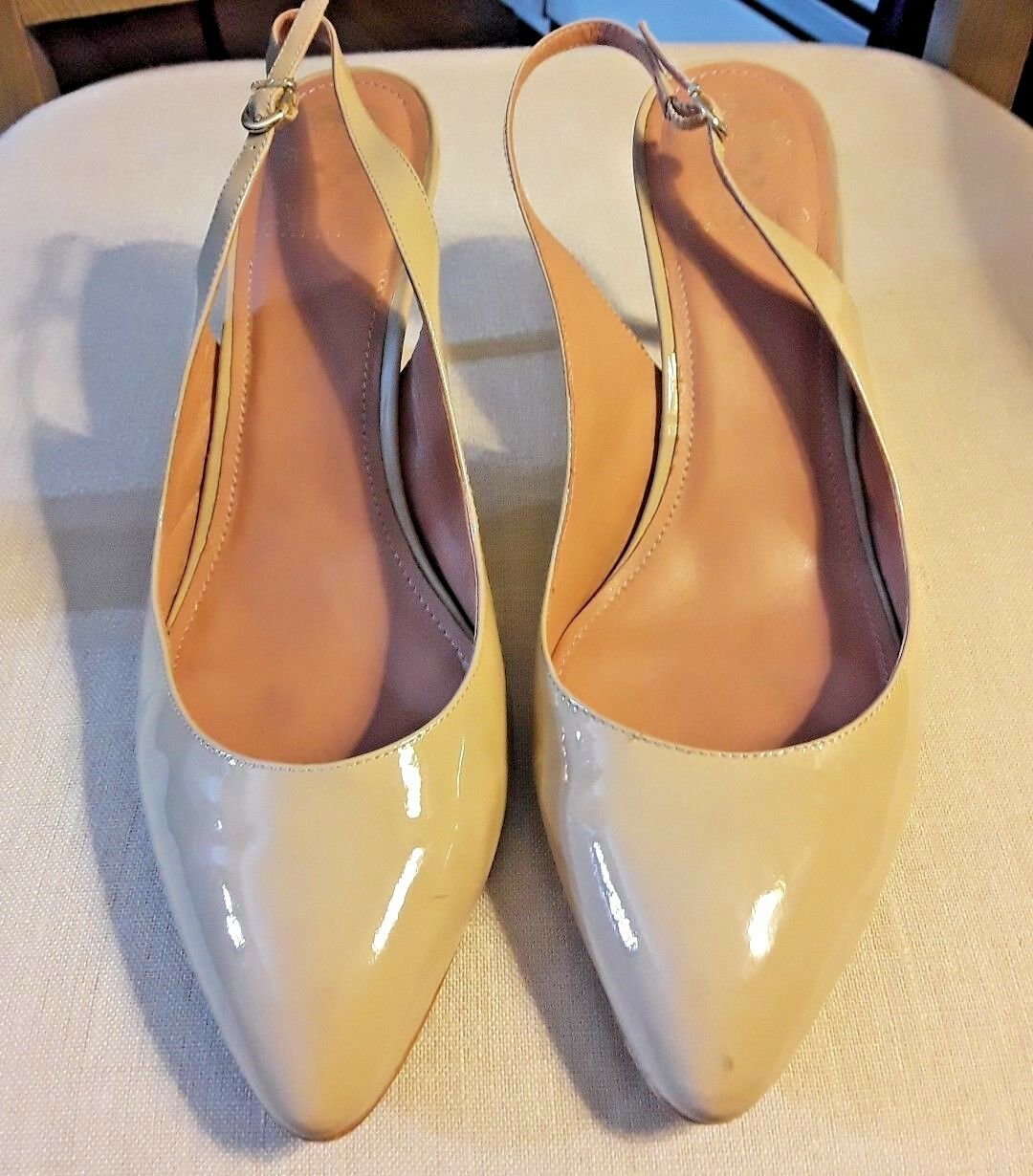 Vince Camuto Tan Nude Patent Leather Pointed Toe Slingback Heels Size 10