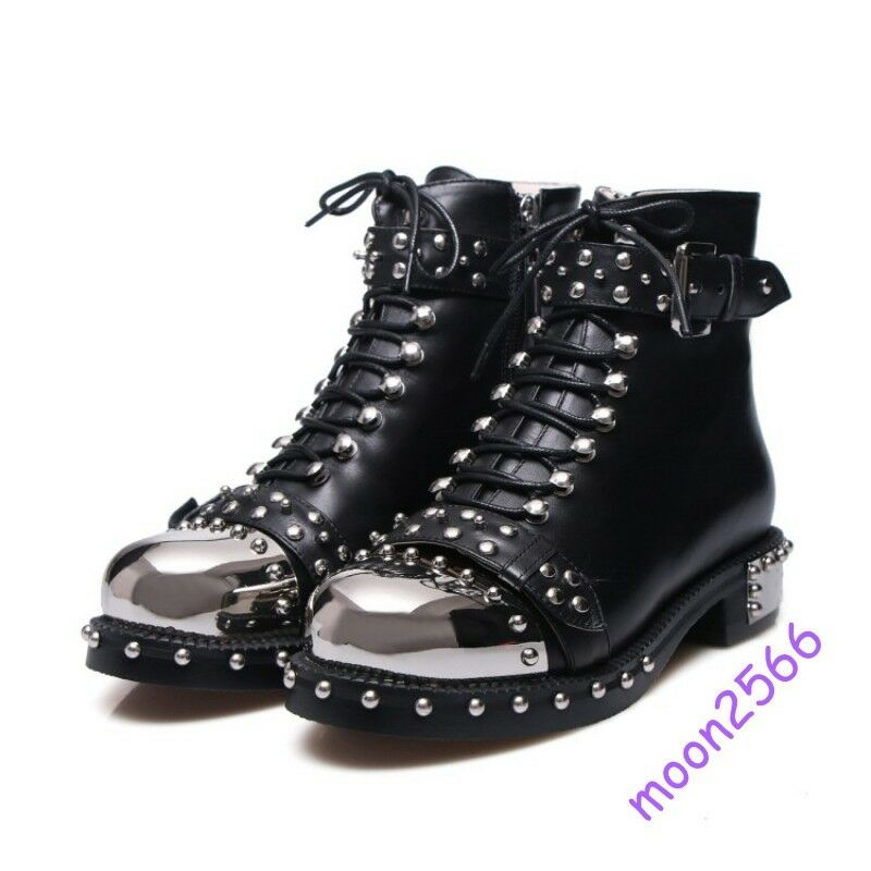 Ladies Fashion Ankle Boots Solid Real Leather Lace Up Metal Toe Punk Buckle Hot