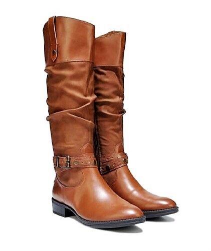 00af3b2af Circus Sam Edelman Paxton Brown F Leather Rider Knee High Block Heel Boot 9  for sale online