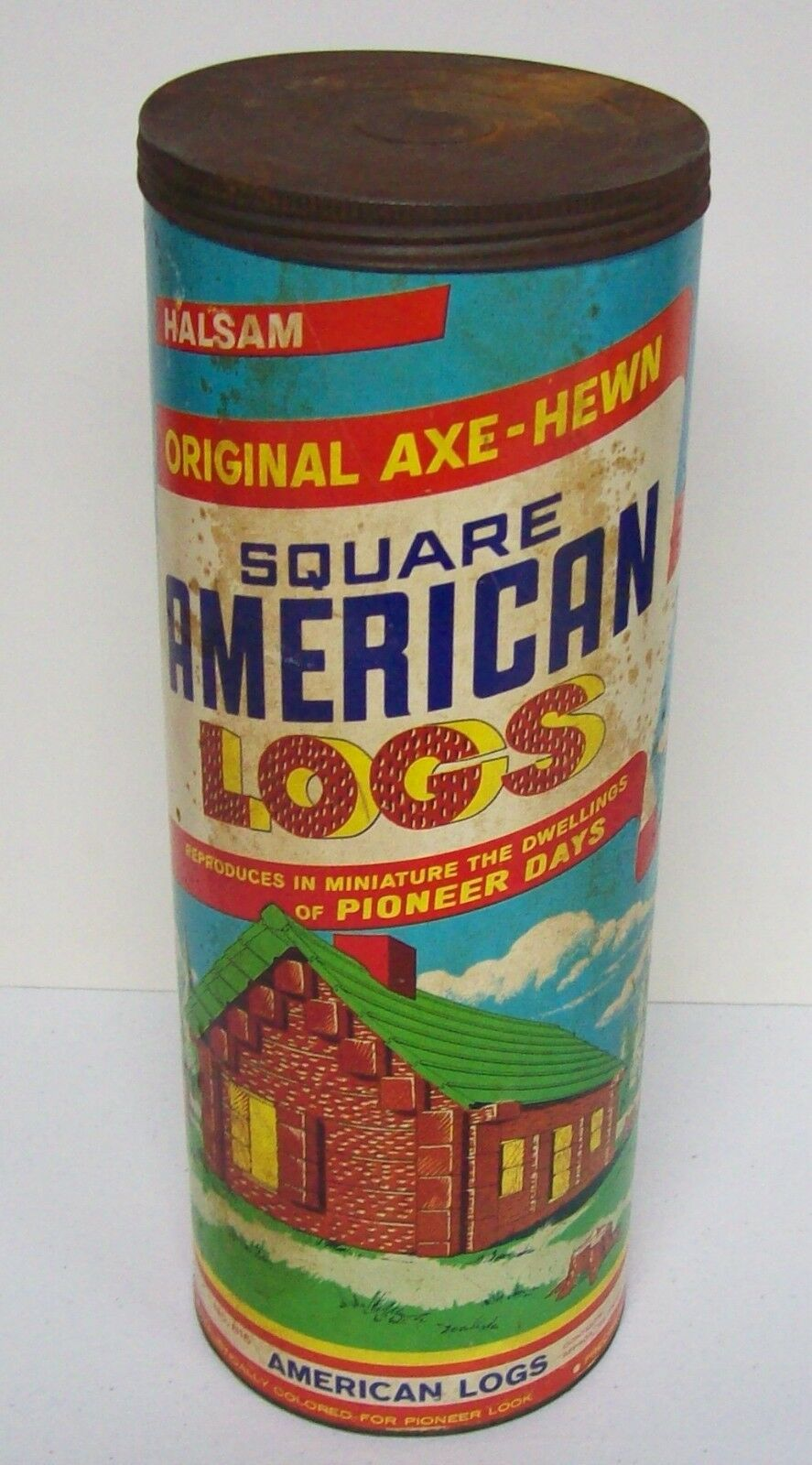 Vintage HALSAM AMERICAN Logs Toy Canister