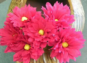 Details About Mexican Crepe Paper Flowers Hot Pink Bouquet Of 6 Margaritas Crafts Party