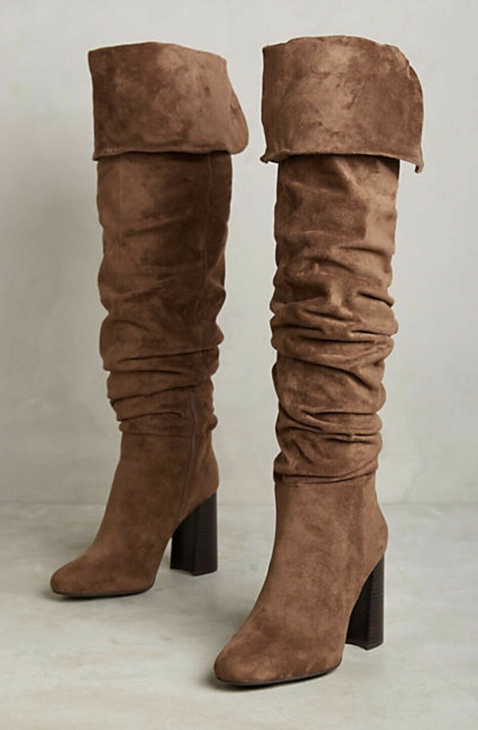 NEW Jeffrey Campbell Intrigue Ruched OTK Suede Stiefel in braun Cocoa Größe 8