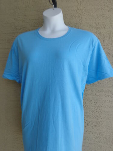 NEW New Hanes 2X Cotton Jersey S//S Crew Neck Tee Shirt Aqua