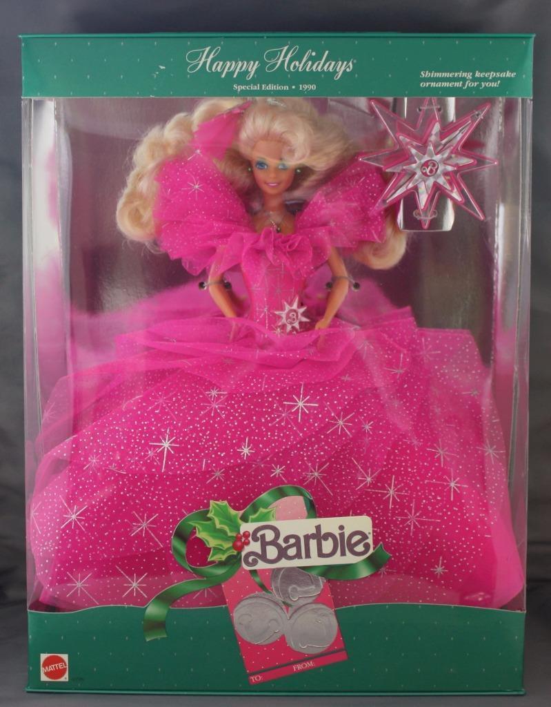 De Colección Happy Holidays Barbie Doll 1990 Edición Especial Fucsia Vestido rosado