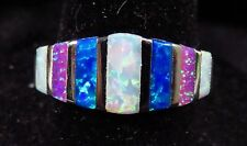 """Silver 925 Filled Size 7 Ring Pink White Blue Baguette Cut Fire Opal  5/16"""" Wide"""