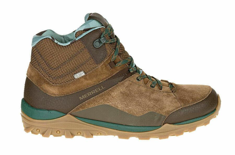 MENS MERRELL LEATHER FRAXION MID WATERPROOF braun HIKING WALKING Stiefel 6-11