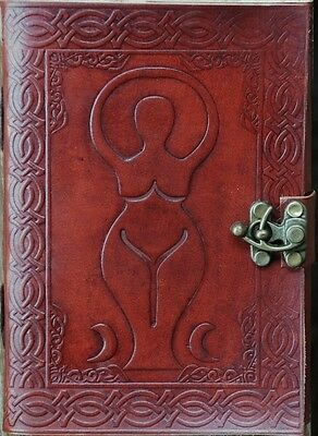 Handmade Triple Goddess Tooled Leather Blank Journal Diary Notebook Book (556)