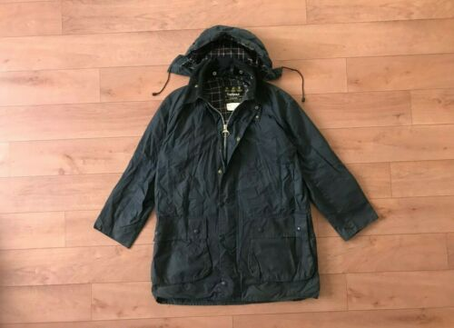 Barbour Border Men's Blue Waxed Coat Jacket Hooded