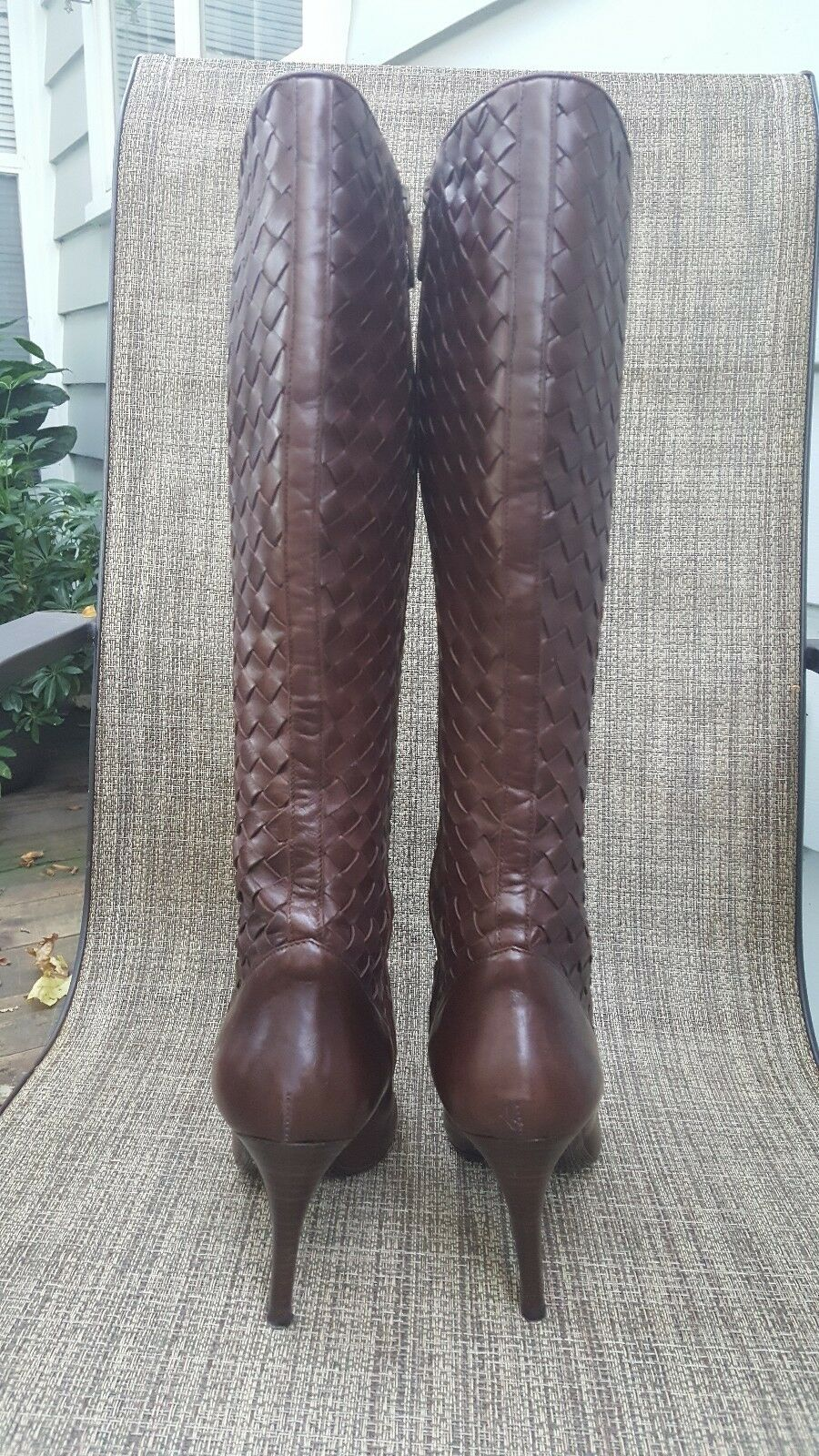 BEAUTIFUL COLE HAAN WOVEN BROWN LEATHER BOOTS SZ 9 NWOB