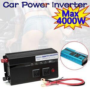 4000Watt Peak Power Inverter DC 12V to 110V 120V AC Converter Adapter Charger