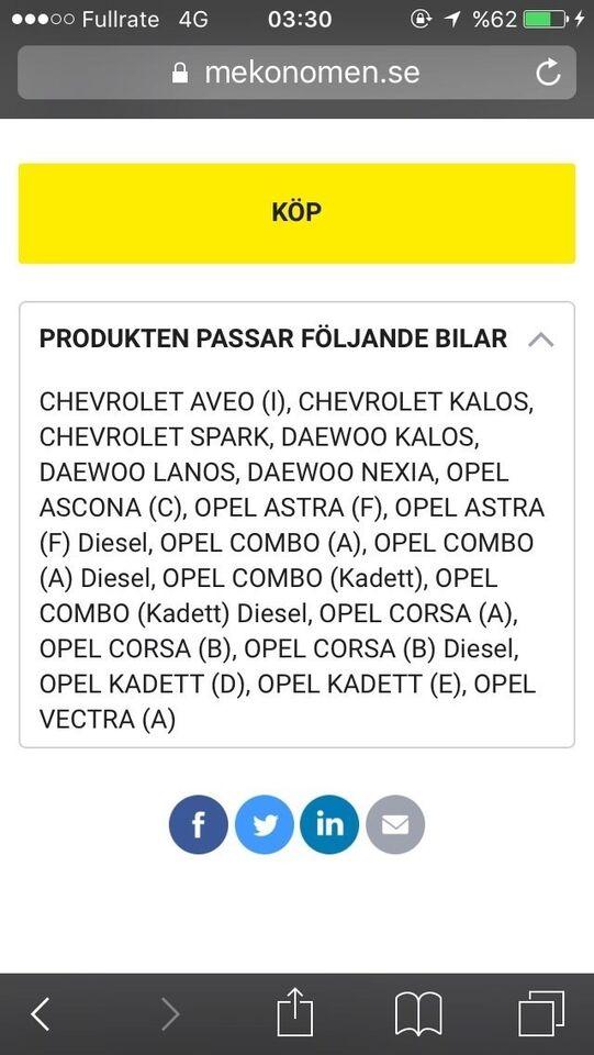 Bremsedele, Bremseskiver, Daewoo Opel.daewoo.chevrole