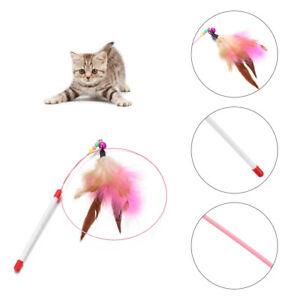 Cat-Kitten-Fun-Toys-Feather-Bell-Wand-Rod-Teaser-Dangler-Stick-Interactive-Toys