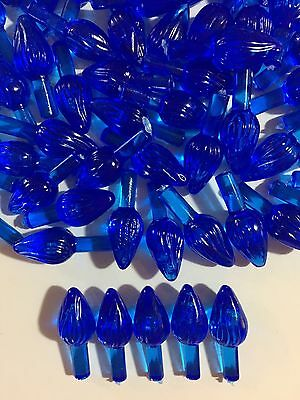 100 BLUE MEDIUM TWIST BULBS Vintage Ceramic Christmas Tree Lights Flame Pegs