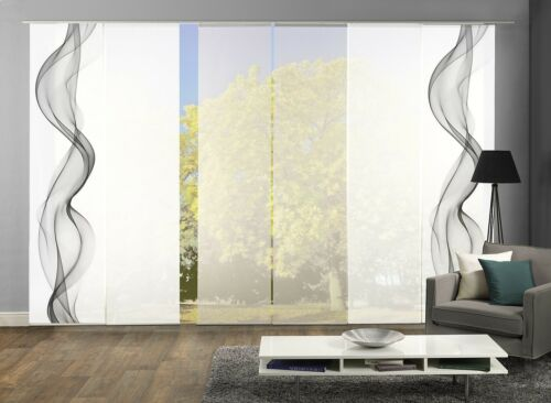 Schiebegardinen 6er Set Digitaldruck Rauchschwade grau