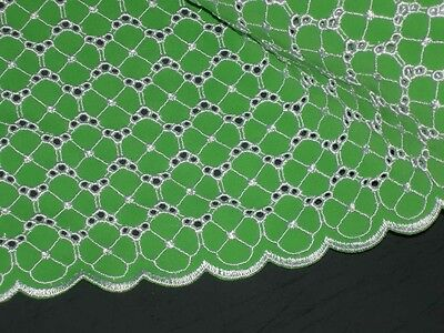 Green lycra fabric double scalloped embroidered eyelet beauty 1 yard 5 inches