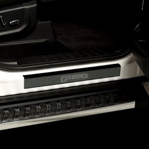 For Ford F-150 15-19 Ford Licensed Black Platinum Door Sills w F-150 Etching