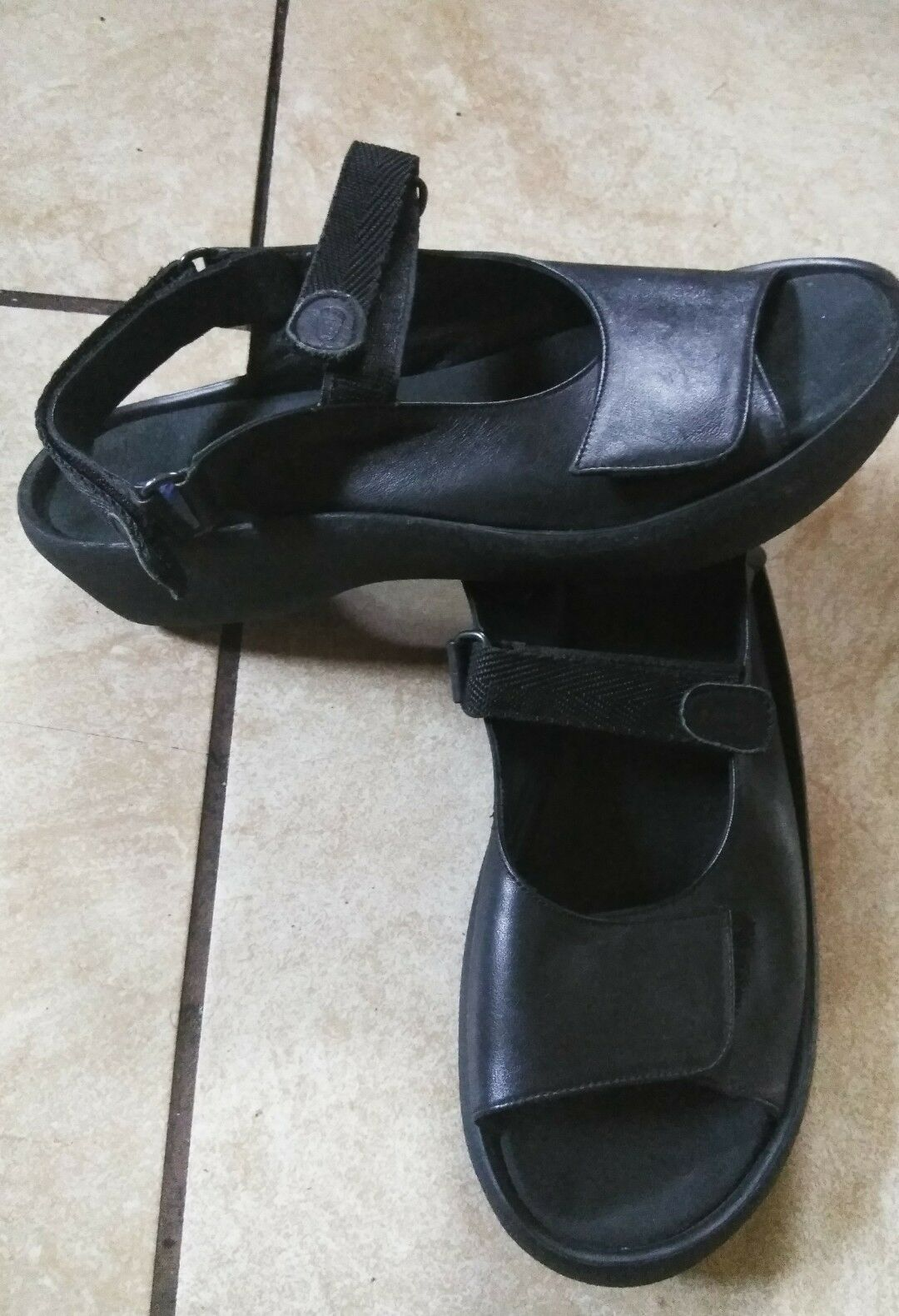 Women's 43 Wolky Black Black Black Leather Jewel Sandals 12 M b2a026