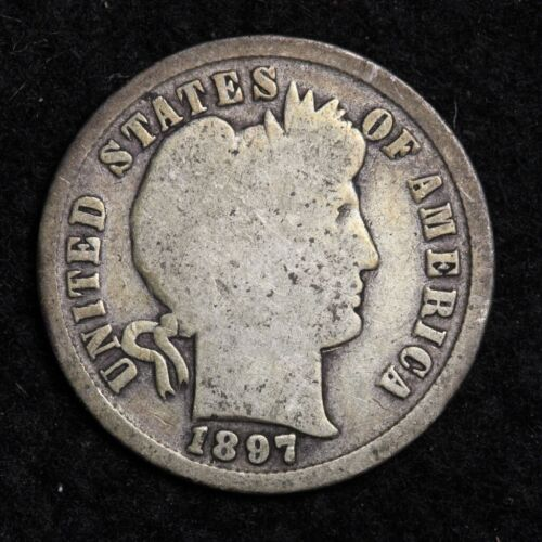1897 Silver Barber Dime GOOD FREE SHIPPING
