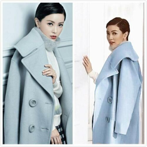 Trench Breasted Coat Wool Outwear Lapel Jacket Kvinders Long Blue Parka Double ORpp0wq