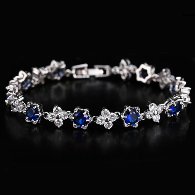 Charming White Gold Plated Cubic Zircon Crystal Bracelet Bangle Wedding Jewelry
