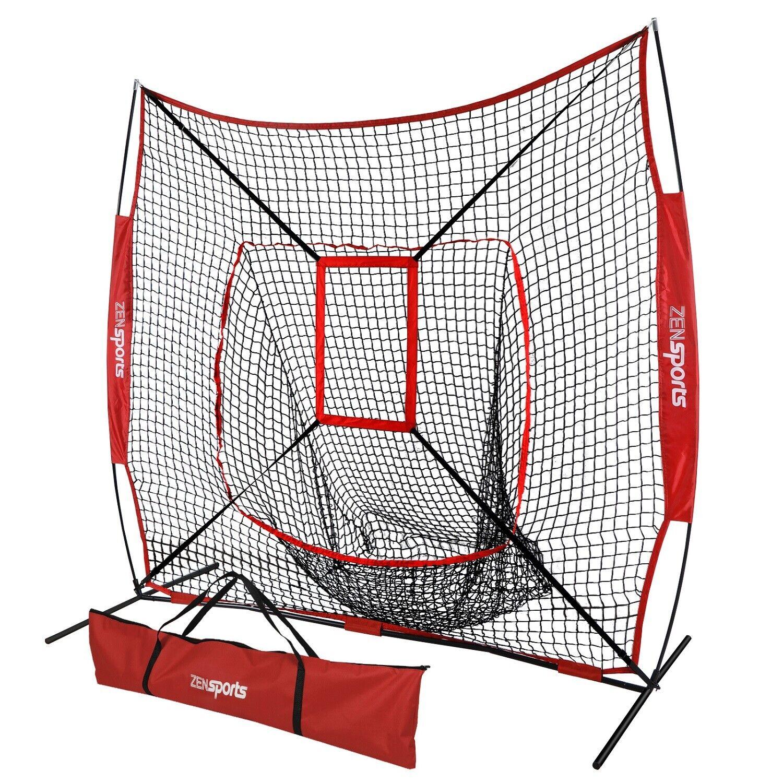 Portable 7×7' Baseball Softball Practice Hitting Net Bow Frame Bag W  Carry Bag