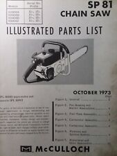 Mcculloch Chain Saw Sp 81 60438a B D Parts Manual 2 Cycle Gasoline Chainsaw 1973