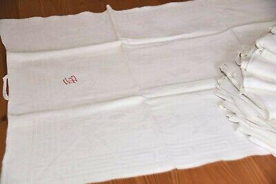 9 Stück Alte Leinen Damast Handtücher Küchentücher Tischläufer Muster Tulpen Modische Und Attraktive Pakete