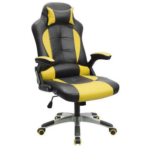 PU Leather High Back Office Desk Race Racing Gaming Chair Mouse Mat YellowBlack@