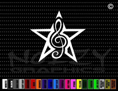 Clef Note #1 I Love Music Band Musician Cute Star Car Decal Window Vinyl Sticker