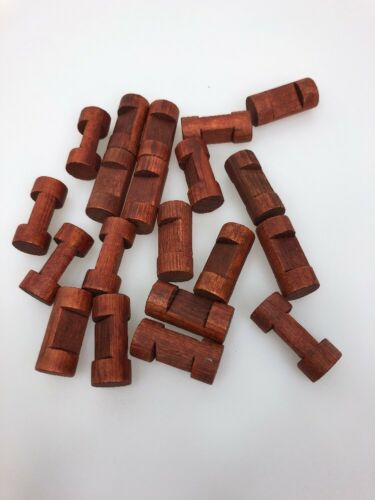 """Lot Of 50 Lincoln Logs  1.5/"""" 1 Notch Small Log Pieces Dark Brown Vintage"""